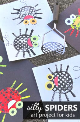Silly Spiders Art Project for Kids-Easy Halloween Craft or Spider Craft for Preschool and Kindergarten