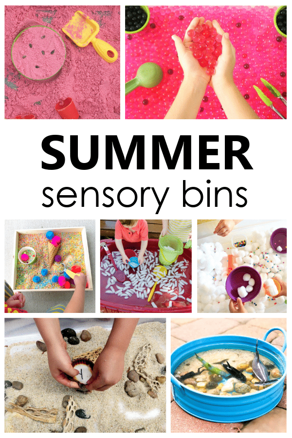 Explore the scents and textures of summer with this engaging summer sensory bins for preschool and toddler summer sensory play activities.