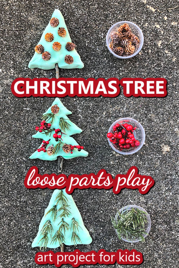 Christmas Tree Loose Parts Play Sensory Art Project for Kids with natural materials