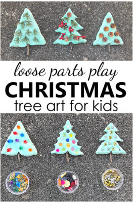 Christmas Tree Loose Parts Play Sensory Art Project for Kids with natural materials Christmas Craft for Kids-Loose Parts Play Christmas Tree Art Project