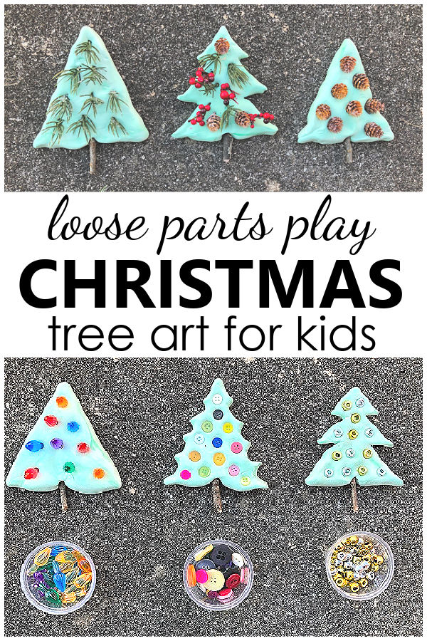 Christmas Craft for Kids-Loose Parts Play Christmas Tree Art Project