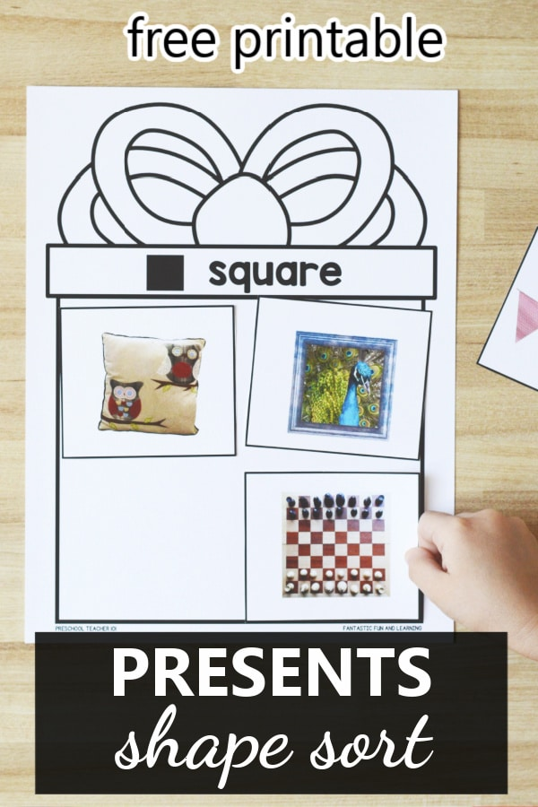 Free printable 2D shape sorting activity for preschool and kindergarten. Christmas or birthday theme activity ideas for kids