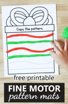 Free printable pattern presents Christmas fine motor play dough mats for preschool and kindergarten