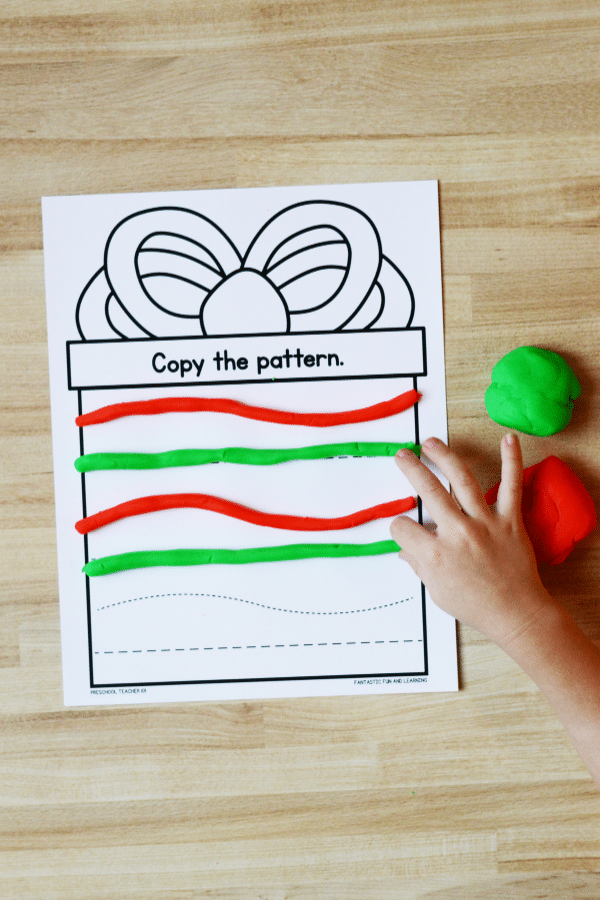 Preschool play dough mats for Christmas fine motor and sensory play