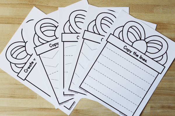 Free printable present fine motor mats