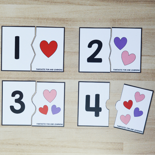 Free Printable 1-20 Counting Puzzles for Valentine's Day Math Activities