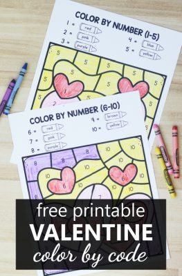 Free printable Valentine Color by Code Worksheets for Preschool and Kindergarten Color by Number, Sum, or Shape