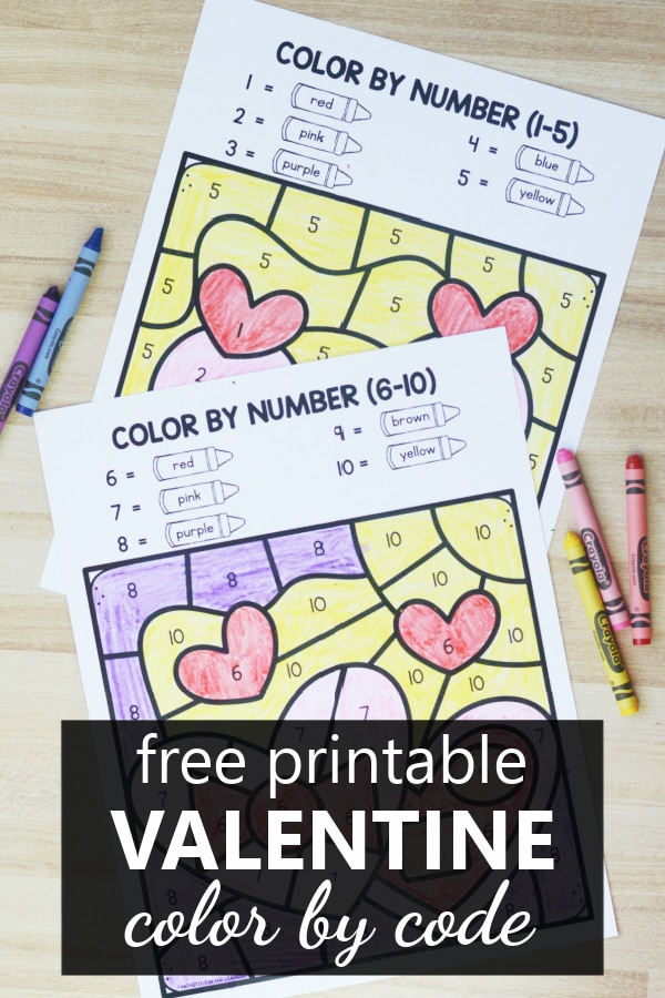 Free Printable Valentine Color by Code Worksheets for Preschool and Kindergarten-Color by Number, Sum, Shape