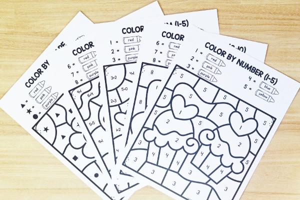 Free printable Valentine Color by Code Worksheets