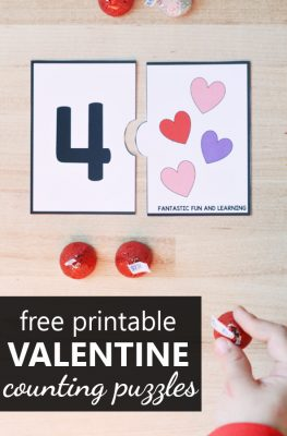 Free printable Valentine's Heart Counting Puzzles for Numbers 10 to 20. Preschool and Kindergarten Valentine's Day Math Center Activity.