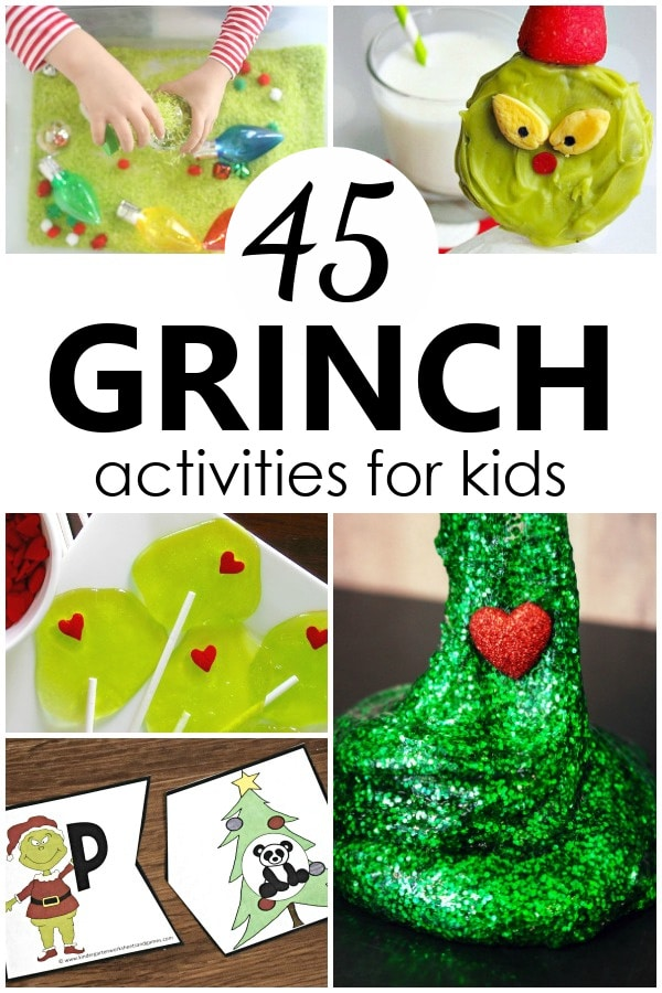 Grinch Activities for Kids with sensory play, learning activities, recipes and more to go along with your Grinch Day plans