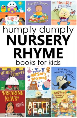 Humpty Dumpty books to read with kids. Humpty Dumpty book list and books to read after teaching the nursery rhyme. Perfect for preschool nursery rhyme theme activities.