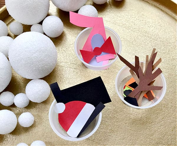 Materials for Snowman Art in Preschool and Kindergarten