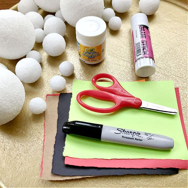 Materials for Winter Snowman Art