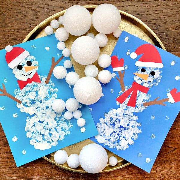 Paint with Snowballs-Snowman Art for Kids