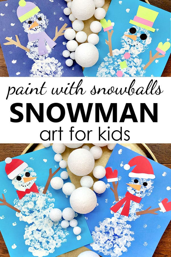 Paint with Snowballs Snowman Art for Kids