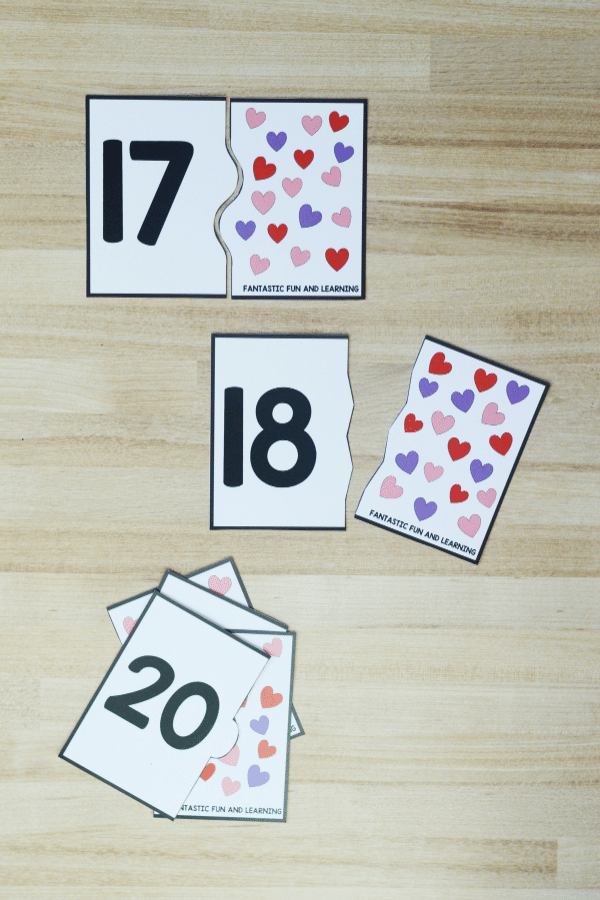 Printable Heart Puzzles for Numbers 1 to 20. Kindergarten and PreK Valentine_s Day Math