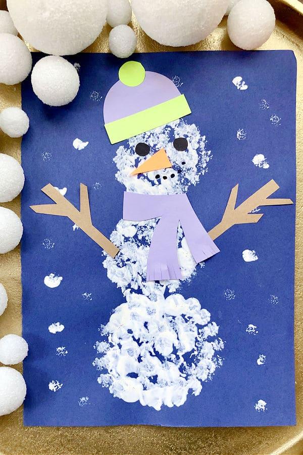 Snowman winter art project for kids