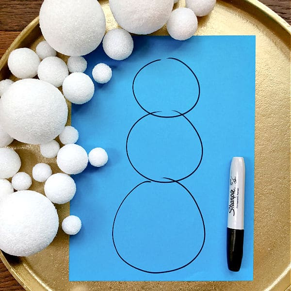 Step 1-Draw circles for snowman