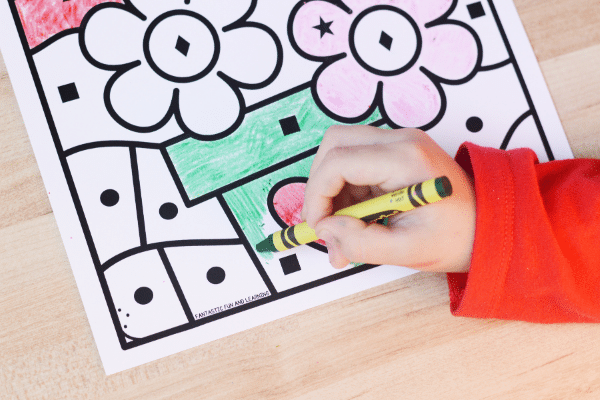 Valentine Color by Shape Printable Worksheet for Kids