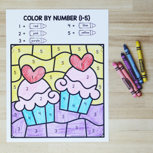 Valentine_s Day Free Printable Color by Number Worksheet