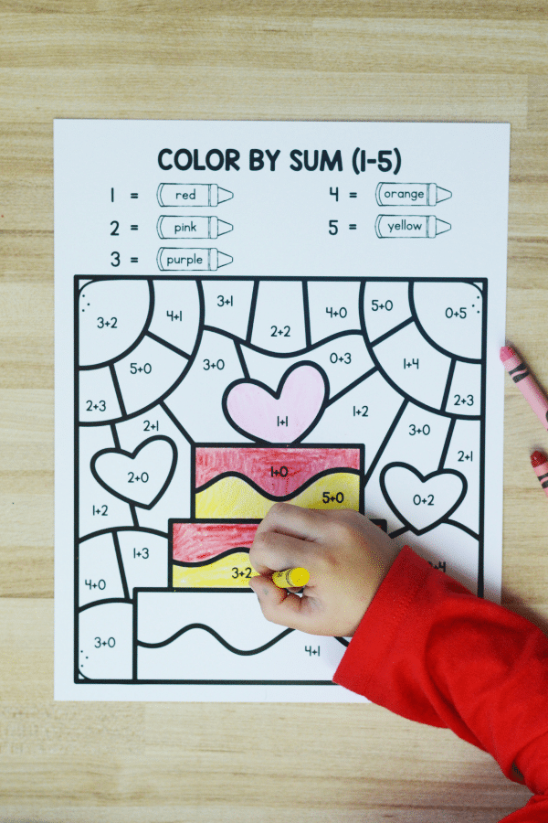 Valentine_s Day Math-Color by Sum Addition Worksheet