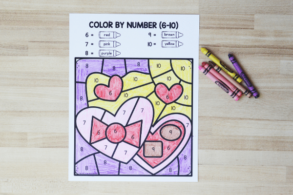 Valentine_s Day Math Printable-Color by Code Worksheet