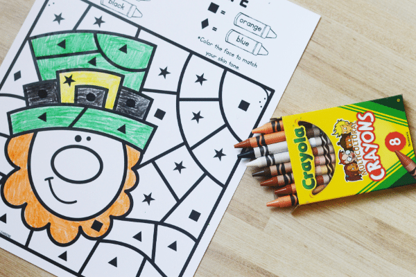 Free Printable St. Patrick_s Day Color by Code Worksheets for Preschool and Kindergarten