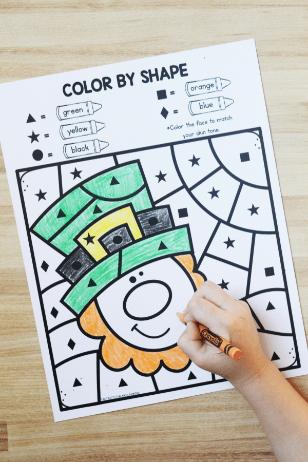 Free printable Color by Shape St. Patrick_s Day Printable Worksheet for Kids