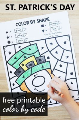 Free printable St. Patrick's Day Color by Code Math Worksheets for Preschool and Kindergarten. St. Patrick's Day Activities