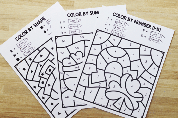 Free printable St. Patrick_s Day Color by Code Worksheets