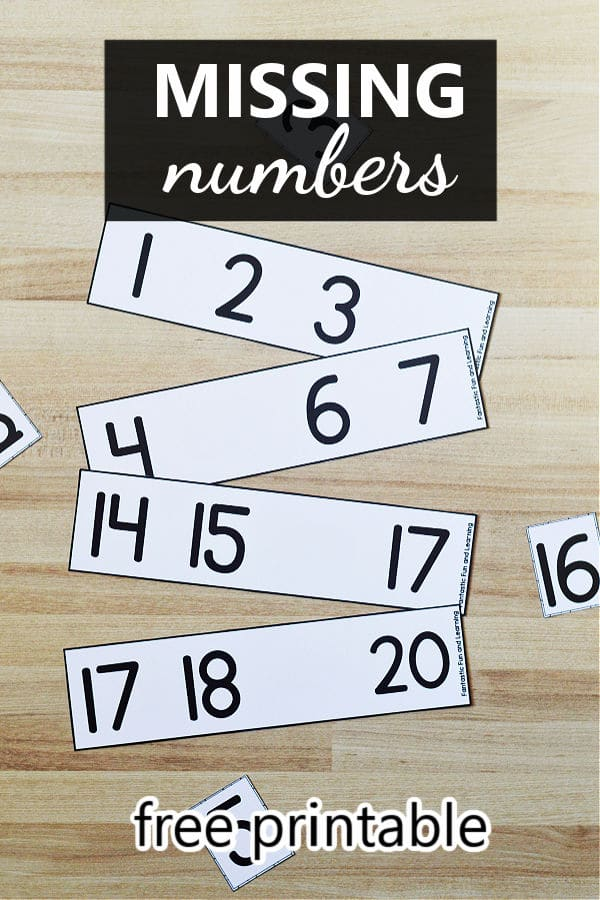 Missing Numbers Free Printable Math Center Activity for Preschool and Kindergarten Counting to 20
