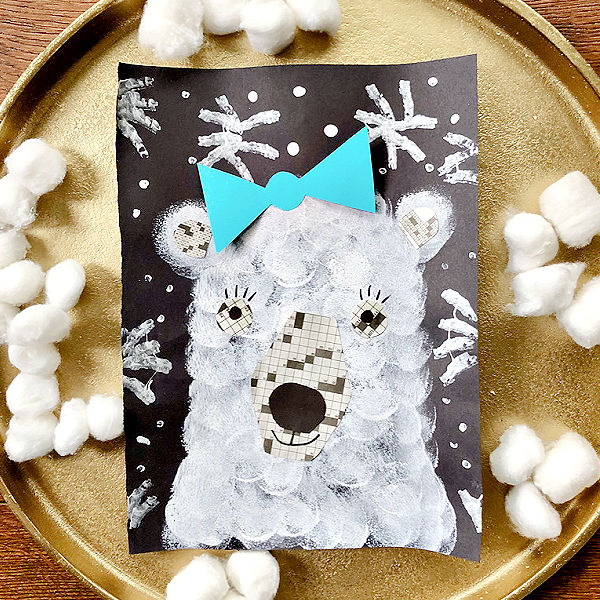 Polar Bear Craft for Kids-Paint Project for Winter