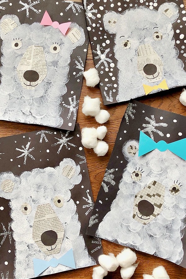 Polar Bear Winter Art Project for Kids-Collage Art and Paint Project