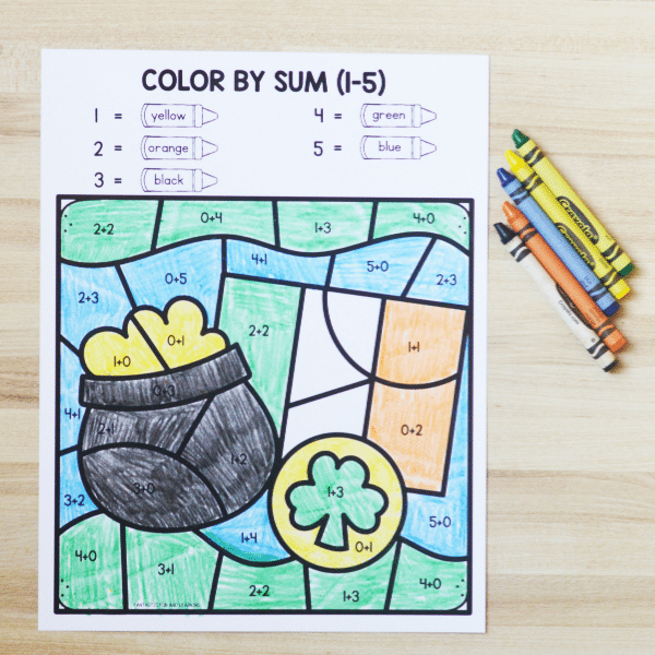 St Patrick_s Day Color by Sum Addition Worksheet