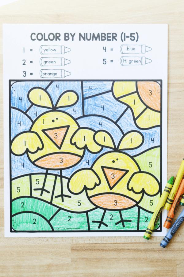 Easter Color by Number Worksheet