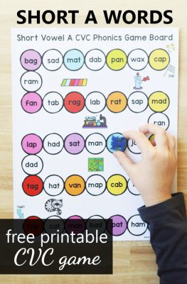 Free printable CVC game to practice short a words in kindergarten and first grade