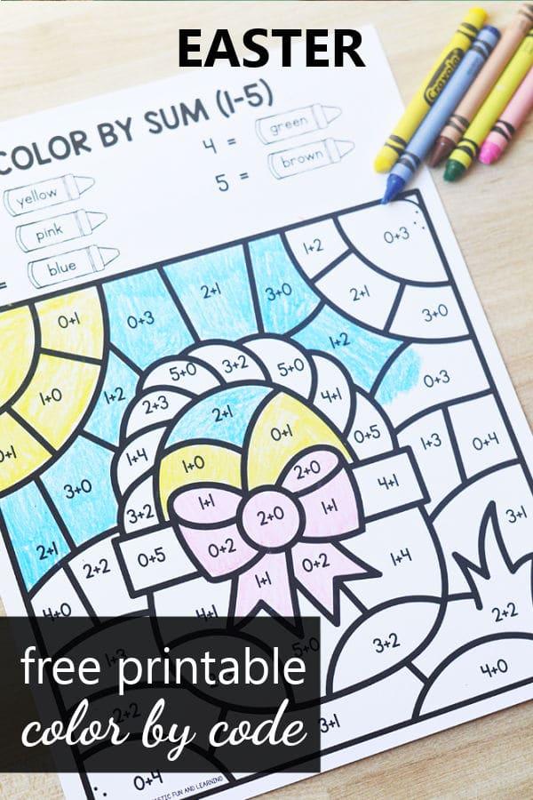 Free printable Easter Color by Code Worksheets for Preschool and Kindergarten