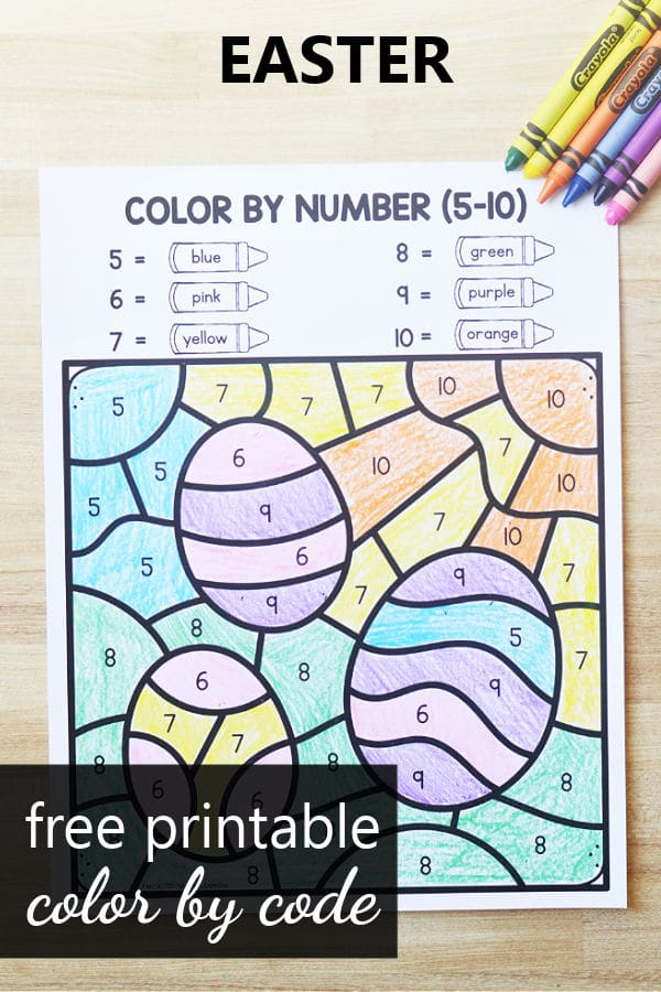 Free printable St. Easter Color by Code Math Worksheets for Preschool and Kindergarten Easter Activities