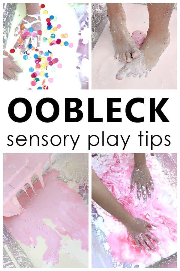 Oobleck Sensory Play Tips-Messy Play fun for kids