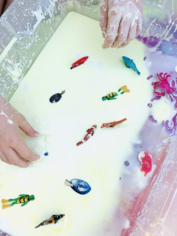Step 3-Oobleck Playtime-Add washable toy figures