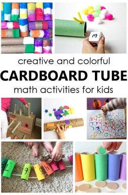 Repurpose cardboard tubes and use them for fun carboard tube math activities to practice counting, colors, and shapes with kids.