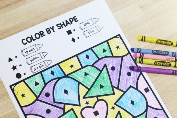 Free Printable No Prep Earth Day Activities-Color by Shape Game
