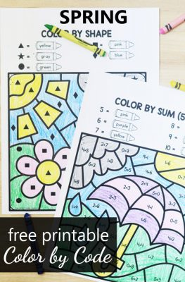 Free printable spring color by code math worksheets