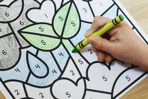 Free printable color by code math worksheets for spring theme activities