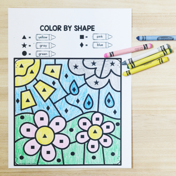 Free printable no prep spring math activities for preschool and kindergarten-Color by Code Math Games