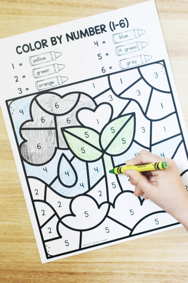Free printable spring color by code math games for preschool and kindergarten