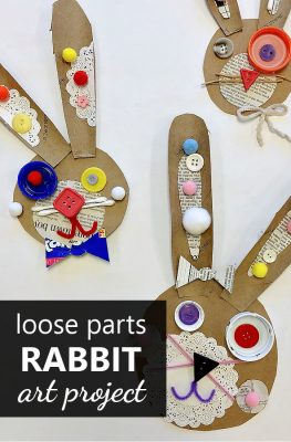 Recycled Rabbit Art Project Loose Parts Rabbit Craft for Kids