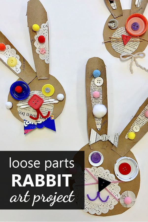 Recycled Rabbit Art Project-Loose Parts Rabbit Craft for Kids