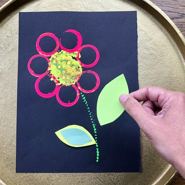 Adding details to flower art project